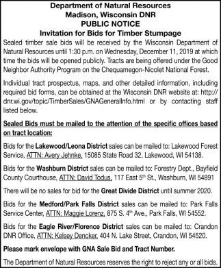 Public Notice Invitation for Bids on Timber Stumpage