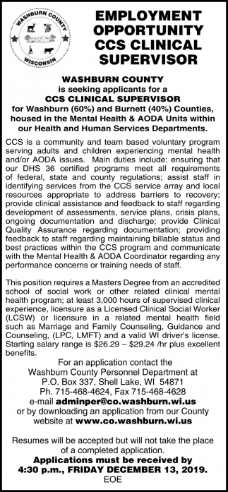 CCS Clinical Supervisor