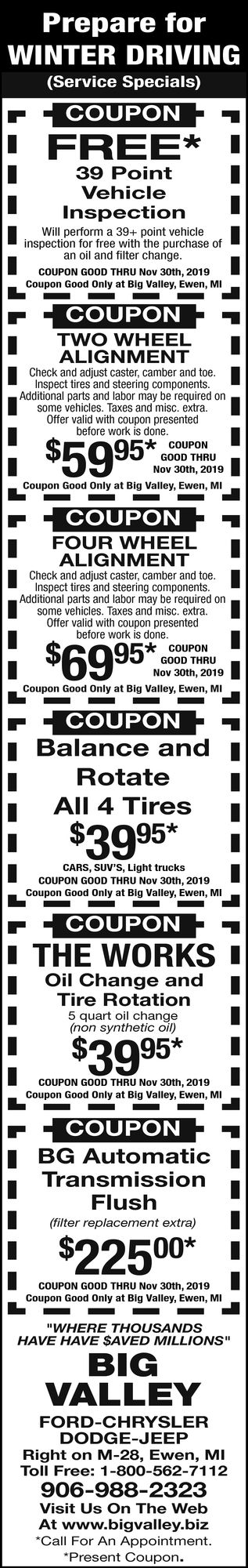 Prepare for Winter Driving Service Specials