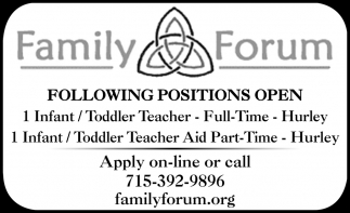 Following Positions Open