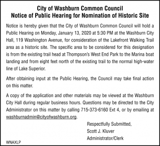 Notice of Public Hearing for Nomination of Historic Site