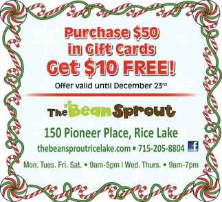 Purchase $50 in Gift Cards Get $10 FREE!