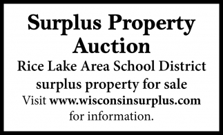 Rice Lake Area School District surplus property for sale
