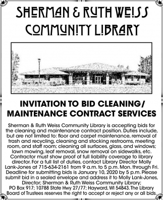 Bid Cleaning / Maintenance Contract Services