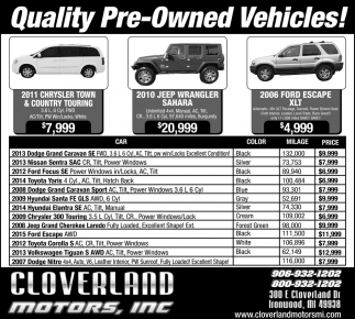 Quality Pre-Owned Vehicles!