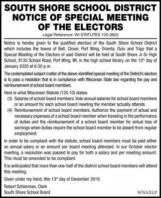 Notice of Special Meeting of The Electors