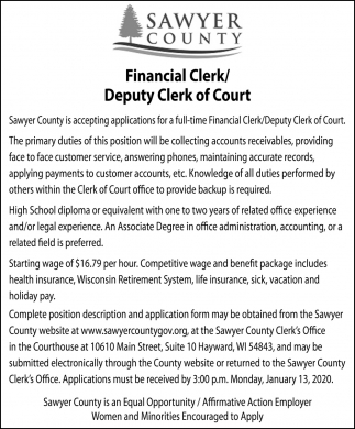 Financial Clerk / Deputy Clerk of Court