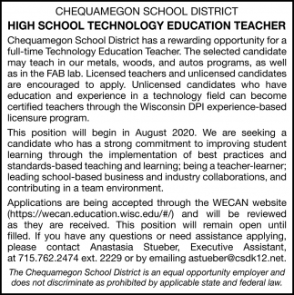 High School Technology Education Teacher