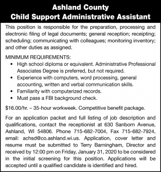 Child Support Administrative Assistant