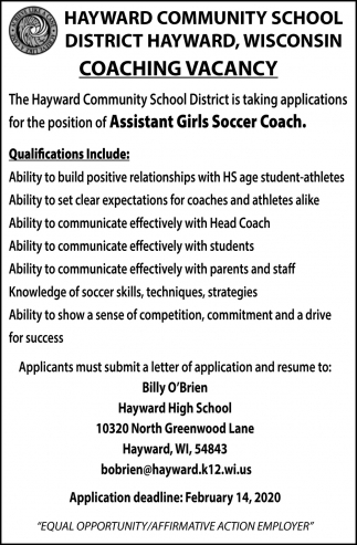 Assistant Girls Soccer Coach