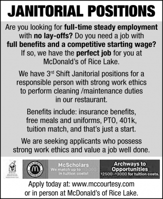 Janitorial Positions