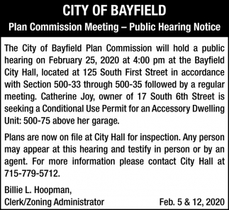 Plan Commission Meeting, Public Hearing Notice