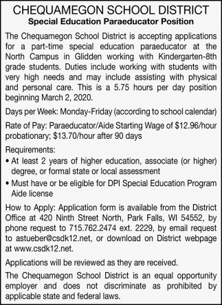 Special Education Paraeducator Position