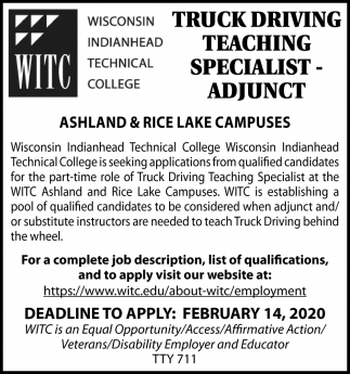 Truck Driving Teaching Specialist - Adjunct