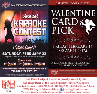 Annual Karaoke Contest / Valentine Card Pick