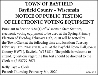 Notice of Public Testing of Electronic Voting Equipment