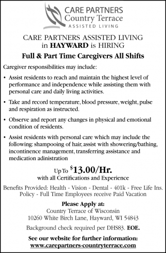 Full & Part-Time Caregivers All Shifts