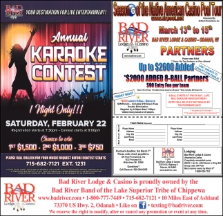 Annual Karaoke Contest / Season 17 of the Native American Casino Pool Tour