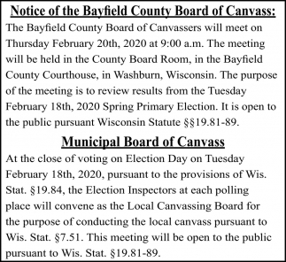 Notice of the Bayfield County Board of Canvass