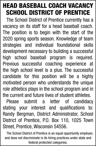 Head Baseball Coach