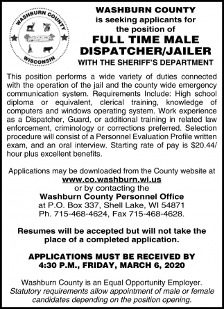 Male Dispatcher / Jailer