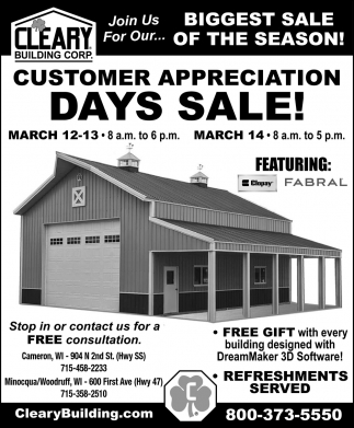 Customer Appreciation Days Sale!