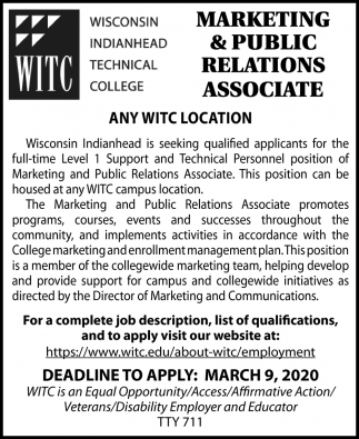 Marketing & Public Relations Associate