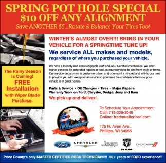 Spring Pot Hole Special $10 off any alignment