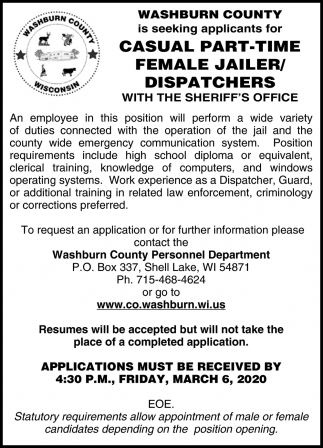 Female Jailer / Dispatchers