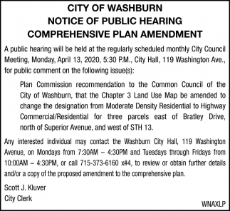 Notice of Public Hearing Comprehensive Plan Amendment