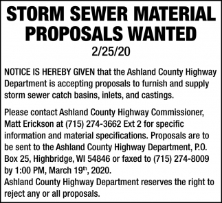 Storm Sewer Material Proposals Wanted