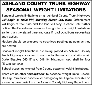 Ashland County Trunk Highway Seasonal Weight Limitations