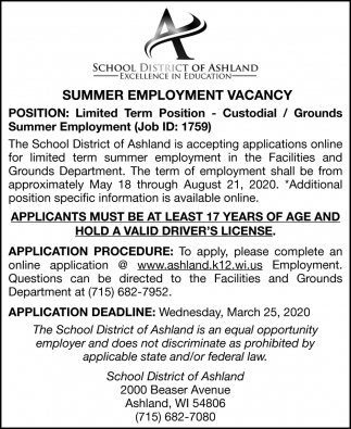 Summer Employment Vacancy