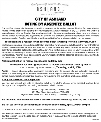 Notice of Public Hearing on Special Assessments for Public Improvements in Ashland
