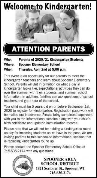 Parents of 2020/21 Kindergarten Students
