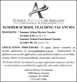 Summer School Teaching Vacancies