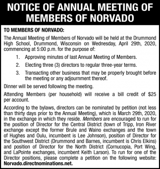 Annual Meeting of Members of Norvado
