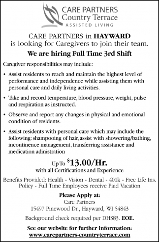 We Are Hiring Full Time 3rd Shift