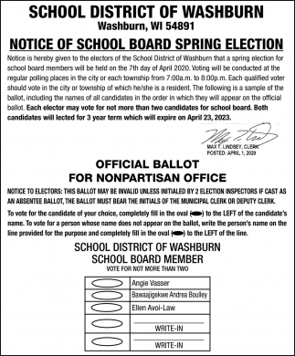School Board Spring Election