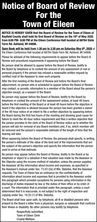 Notice of Board of Review
