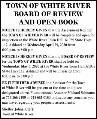 Board of Review and Open Book
