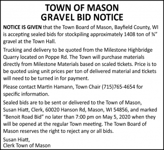 Gravel Bid Notice