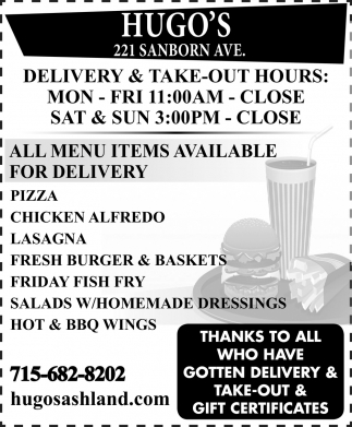 Delivery & Take-Out Hours