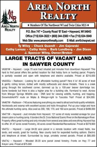 Large Tracts of Vacant Land In Sawyer County