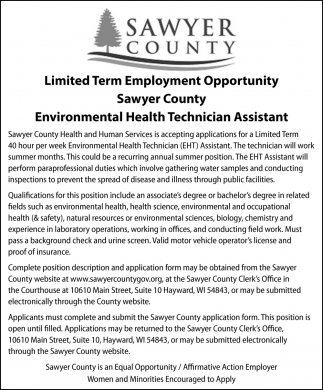 Environmental Health Technician Assistant