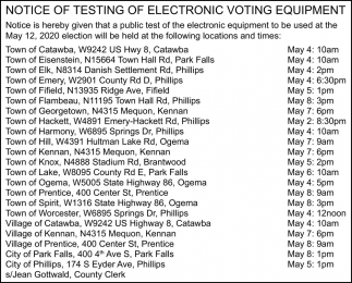 Notice of Testing of Electronic Voting Equipment