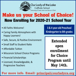 Now Enrolling for 2020-21 School Year