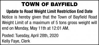 Update to Road Weight Limit Restriction End Date