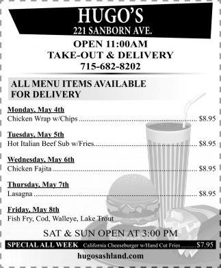 All Menu Items Available for Delivery
