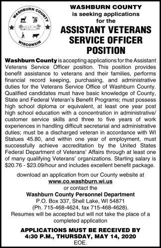 Assistant Veterans Service Officer Position